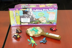 Image shows plastic insect models in the foreground with a plastic handheld net.  The box is the background.