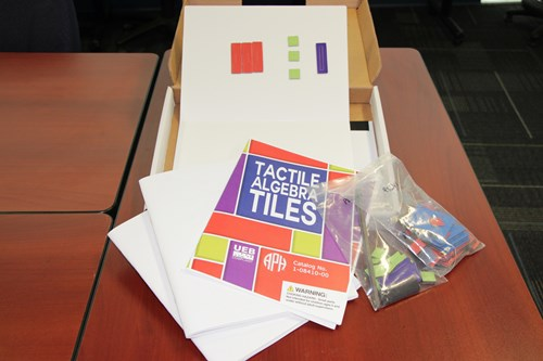 Images shows the contents of the APH Tactile Algebra Tiles Kit. Several tiles are placed on one of the boards.
