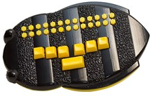 Photo of the BrailleBuzz showing a row of yellow braille keys at bottom and yellow alphabet buttons at top against a black bee-shaped background