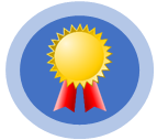 Image shows a logo with an award ribbon.