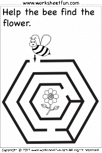 "Worksheet of a maze with the title: ""Help the bee find the flower."""